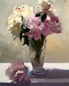"""Dennis Perrin,  """"Peonies in Victorian Vase,"""" oil on linen, 24"""" x 18"""""""