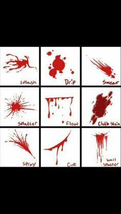 Blood Reference Sheet - How to draw bloody splatters / stains - Drawing Reference Drawing Techniques, Drawing Tips, Drawing Reference, Manga Drawing Tutorials, Poses References, You Draw, How To Draw Books, Art Tips, Art Tutorials