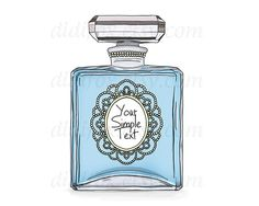 Blue Perfume Bottle with beaded frame  Printable от DidiFox, $3.50