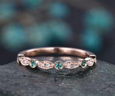 Emerald Wedding Rings, Gold Diamond Wedding Band, Rose Gold Engagement Ring, Engagement Ring Settings, Vintage Engagement Rings, Wedding Ring Bands, Sapphire Wedding, Gold Wedding, Emerald Band Ring