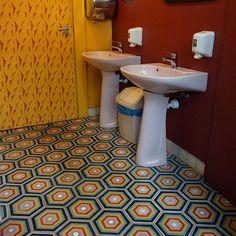 hexagonal rabat cement tiles in rainbow colour @pantlika bisztro