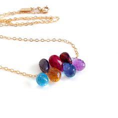 Rainbow Gemstone Necklace. Genuine Gems with Gold Chain Necklace by AzizaJewelry