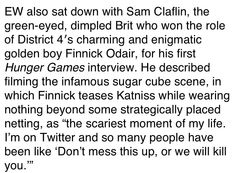 Sam Claflin talks about the sugar cube scene!