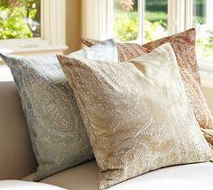 Jordana Paisley Pillow Cover #potterybarn  I like the blue one . . .