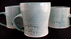 """ceramic mugs """"wakey wakey"""" ;-)"""