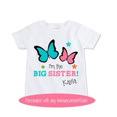 Custom Big Sister butterfly shirt  butterfly tshirt by Exit17