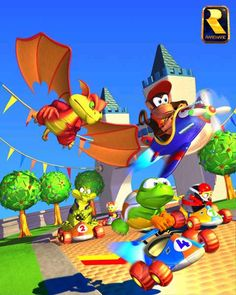 Diddy Kong Racing - Diddy Kong - TipTup - Smokey the Dragon - Krunch the Kremling Super Mario Brothers, Super Mario Bros, Super Heros, Super Nintendo, Nintendo 64, Donkey Kong, Diddy Kong Racing, Marvel Cartoon Movies, Mario All Stars