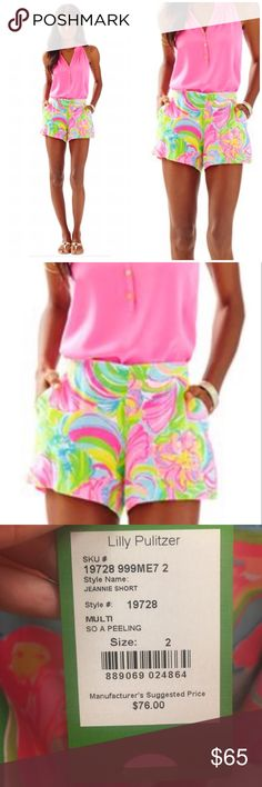 NWT Lilly Pulitzer Jeannie Short So A Peeling - 0 NWT Lilly Pulitzer Jeannie Short So A Peeling - 0. RETAIL: $76. The Jeannie Short is our newest innovation in printed shorts. This soft, flowy short can be elevated with a sweater tank or made casual with a graphic tee. Whatever you choose, you'll be comfortable and ultra chic. 4″ Inseam Chic Soft Short With Side Zip. Printed Palm Beach Rayon (100% Rayon). Hand Wash Cold. Imported. Lilly Pulitzer Shorts