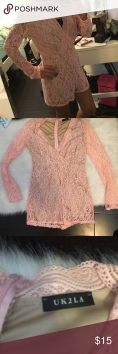 Lace romper Here is a NWOT pink lace romper with zipper on back can fit a woman's small U k 2 L A Pants Jumpsuits & Rompers