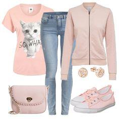 Frühlings-Outfits: Sowhat bei FrauenOutfits.deEcht süß ist das Printtshirt, das du mit einer hellen Jeans von Only und Schuhen von Converse kombinierst. Auch die Jacke und die Handtasche sind in Rosa gehalten und runden das Frühlingsoutfit schön ab.