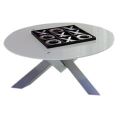 Modern coffee table with giant Tic-Tac-Toe set. Neat!