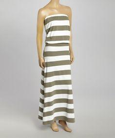 Cactus & White Blouson Strapless Maxi Dress