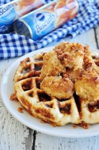 Fried Chicken and bacon Waffles...biscuit dough waffles stuffed with crumbled bacon and topped with crispy fried chicken(I cheat and use store-bought or takeout)