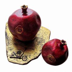 Composition with two pomegranates   24x20x27 cm (ceramics, golden potal) unique, stamped by artist   #Art  #ceramics  #decor  #design  #Home