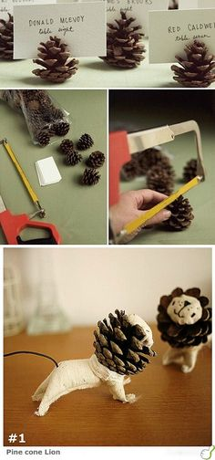 Everyone needs a pine cone lion!  Must have kids each make one for Grandpa Leo!