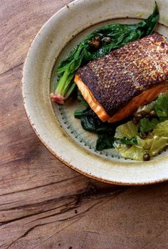 squaremeal: (via Nigel Slater - Tender Recipes - Salmon, spinach and lemon salad) Seafood Dishes, Seafood Recipes, Cooking Recipes, Good Food, Yummy Food, Tasty, Easy Delicious Dinner Recipes, Nigel Slater, Salad With Sweet Potato