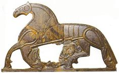 Horse - 5th C Denmark ~Art of Antiquity tends to appear of on items used every day, religion or to tell a story. The items found closer to historical times includes a floor or wall  art