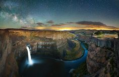 Right after I posted my conciliatory twilight shot from Palouse falls I finished editing the shot I flew here to take.... A night panorama of the falls.  The photography gods felt it fit to bless me with distant lightning as well. Awesome.  This is one of the coolest places I've ever seen photographed and I wanted to give it my own take. Anyways, this is two sets of 5 exposures taken 2 hours apart.  If you ever decide to shoot here bring a good flashlight, and BE CAREFUL OF THE CLIFF EDGE…