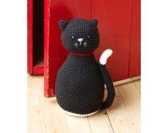 Amigurumi Black Cat Door Stopper (Crochet)