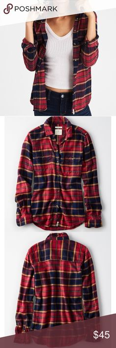 New American Eagle Plaid Cabin Flannel Shirt New with tags! Amazingly soft plaid cabin shirt from American Eagle! Size medium. American Eagle Outfitters Tops Button Down Shirts