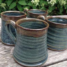 Set of rustic pottery mugs, handmade blue coffee cups