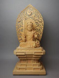 4KM JAPANESE LARGE BUDDHIST FUDOMYO BUDDHA STATUE CARVED WOOD MANDORLA SWORD NR