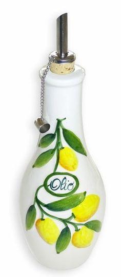handgemachte lflasche mit ausgie er 500 ml aus italienischer keramik im olivendesign k chen. Black Bedroom Furniture Sets. Home Design Ideas