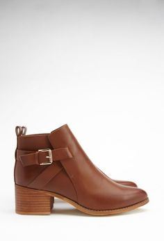 Buckled-Strap Ankle Booties