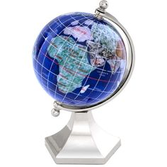 Featuring a colorful design and metal base, this stylish globe lends a glamorous touch to your parlor or study.Product: Globe