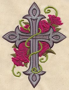 Cross and Roses - Thread List | Urban Threads: Unique and Awesome Embroidery Designs