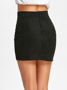 Faux Suede Lace Up Mini Skirt - BLACK M