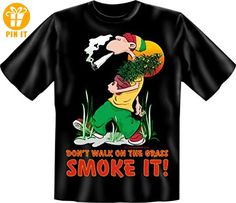 Joint - Rasta - Jamaica - Hanf - Fun T-Shirt - Don't walk on the grass smoke it! Größe XL - T-Shirts mit Spruch | Lustige und coole T-Shirts | Funny T-Shirts (*Partner-Link)