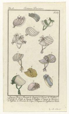 Anonymous | Journal des Dames et des Modes, Costumes Parisiens, 3  août 1805, An 13, (658): Chapeau Paré..., Anonymous, Pierre de la Mésangère, 1805 | Twaalf afbeeldingen van zeven typen hoofddeksels, genummerd één tot en met zeven. 1, 'Chapeau paré'. 2, 'Bonnets de lingères'. 3, Capote van tafzijde 'à dentelle de paille'. 4, Capote van tafzijde. 5, Capote van 'sparterie' (gevlochten plantenvezels) en tafzijde. 6, Muts van crêpe. 7, Hoed van tafzijde en stro. De prent maakt deel uit van het…