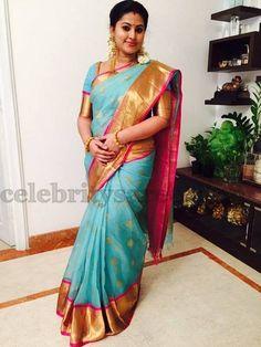 Sneha Blue Traditional Saree   Saree Blouse Patterns
