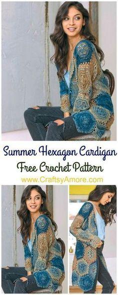 Crochet Summer Hexagon Cardigan Free Pattern