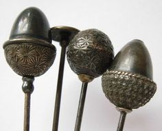 Sterling silver hatpins from the Edwardian period, circa 1910