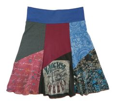 Lucky Boho Chic Hippie Skirt Women's Medium Large upcycled t-shirt clothing from Twinkle