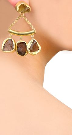 22 kt gold plated earrings with uncut smoky topaz stones, available only at Pernia's Pop Up Shop.