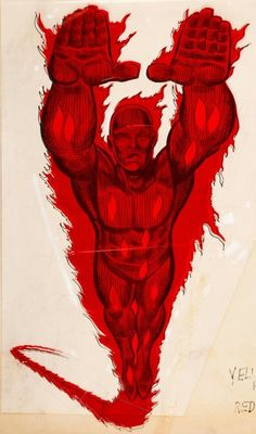 Memorabilia:Miscellaneous, MMMS Human Torch Poster Production Materials (Marvel, 1966)....