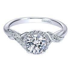 Gabriel & Co. ER11828R4W44JJ 14k White Gold Diamond Halo Engagement Ring Setting Many of Gabriel & Co. Bridal Collection items are timeless, inspired by classic design.  This polished 14k W…