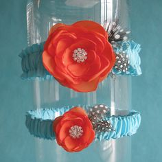 Garter Blue Tangerine WeddingGarter Set G152 bridal by HARTfeltart, $40.00