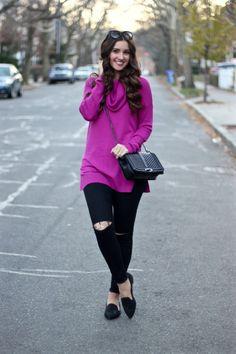 Magenta Pink Cowlneck Tunic Sweater, Black Frayed Skinny Jeans
