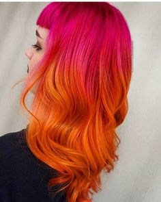 Pink and orange hair poppin pink in 2019 цветные волосы, иде Orange Ombre Hair, Pink And Orange Hair, Yellow Hair Color, Cool Hair Color, Hair Colors, Pink Yellow, Teal Orange, White Hair, Blue Green