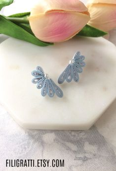 These Dusty blue statement earrings are sure to make you the showstopper at every party you wear them to. These Flower stud earrings are so lightweight & easy on the ears that you won't even know you are wearing them. Click the link to grab them before they are gone. #dustybluestatementearrings #flowerstudearrings #bohoearrings #floralearrings #birthdaygifts #uniquejewelry Quilling Studs, Paper Quilling Earrings, Quilling Jewelry, Paper Jewelry, Blue Earrings, Unique Earrings, Trendy Fashion Jewelry, Quilling Designs, Unique Christmas Gifts