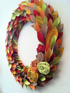 fall wreath paper - fall colors - large 22 inch newspaper rosette and leaf. $ 65.00, via Etsy.
