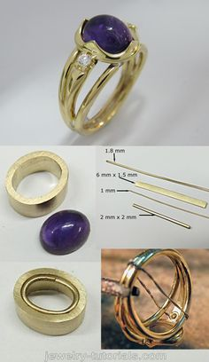 With this Decorative Cabochon Collet Ring I explore a cross between a tube (bezel) and a claw (prong) setting for the centre cabochon so that you will be able to do the finishing and setting. #tutorial #jewelrymaking making a ring, jewellery tutorial, metalsmith, silver, bench work, cabochon, soldering