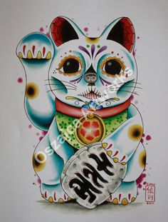 Day of The Dead / Dia De Los Muertos Maneki Neko / Lucky Cat by OszajcaArtworks on Etsy.