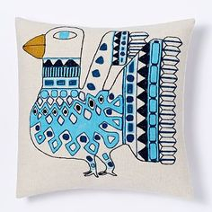 you either love it or you hate it...i just felt like if anyone could pull it off, it'd be you (well, and me)  Embroidered Inca Bird Pillow Cover #westelm