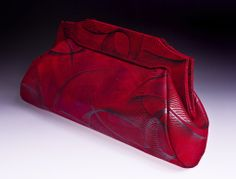 Michelle LaLonde Accessories, Need this one-of-a-kind red clutch with deco silver leaves, shop the collection online www.deleuse.com