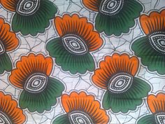 Orange and Green flowers #african #wax #print #fabric